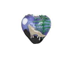 Grace Lampwork Howling at the Moon Heart 19-20mm