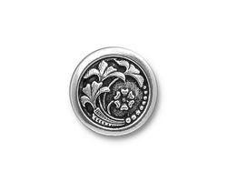 TierraCast Antique Silver Czech Flower Button 18mm