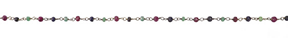 Multi Gemstone (enhanced - Ruby, Sapphire, Emerald) Faceted Rondelle 4mm Antique Silver Bead Chain