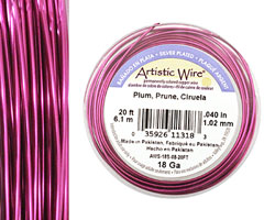 Artistic Wire Silver Plated Plum 18 gauge, 20 feet