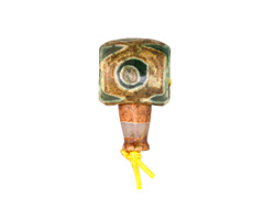 Tibetan (Dzi) Agate Dark Green & Brown Barrel Guru Bead 15-16mm