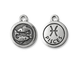 TierraCast Antique Silver (plated) Round Pisces Charm 15x18mm