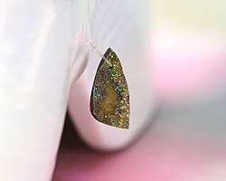 Rainbow Pyrite Druzy (A) Freeform Pointed Drop Pendant 10x20mm