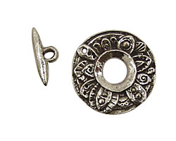 Green Girl Pewter Round Floral Toggle Clasp 23mm, 16mm Bar