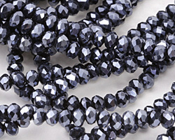 Jet Hematite Crystal Faceted Rondelle 4mm
