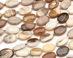 Wooden Jasper Flat Oval 14-16x10-11mm