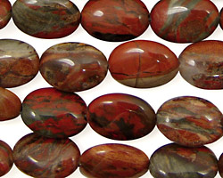 Gray Rainbow Jasper Flat Oval 14x10mm