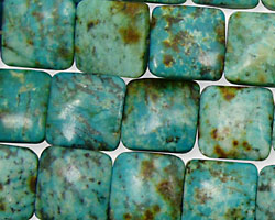 African Turquoise Puff Square 12mm