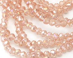 Garden Rose AB Crystal Faceted Rondelle 3mm