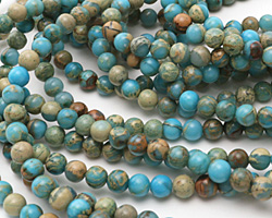 Ocean Blue Impression Jasper Round 6mm