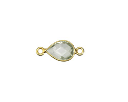 Prasiolite Faceted Teardrop Link in Gold Vermeil 17x8
