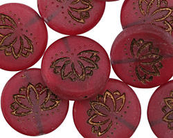 Czech Glass Matte Dark Bronzed Cherry Lotus Coin 18mm