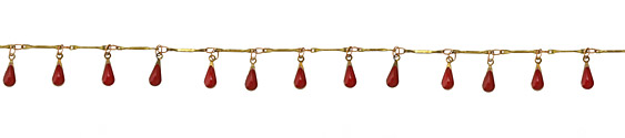 Zola Elements Brass Bar Chain w/ Red Teardrops