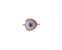 Sangria Mix Pave CZ Rose Gold (plated) Triangle Focal Link 17x12mm