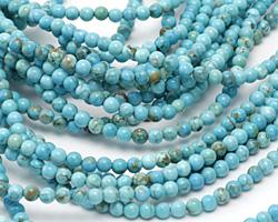 Turquoise Blue Magnesite Round 4mm