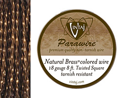 Vintaj Natural Brass Twisted Square Parawire 18 gauge, 8 feet