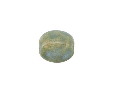 Gaea Ceramic Out of the Blue on Buff Pebble Bead 13-15x11-13mm