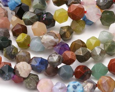 Multi Gemstone (Sodalite, Tiger Eye, Red Jasper, Aventurine) Star Cut Round 7-8mm