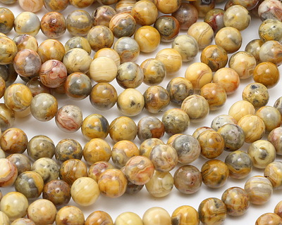Crazy Lace Agate (yellow) Round 8mm