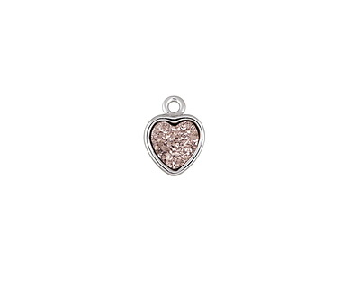 Metallic Bronze Crystal Druzy Heart Charm in Silver Finish Bezel 8x10mm