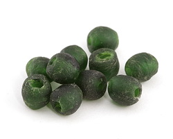 African Recycled Glass Dark Green Tumbled Round 6-8mm