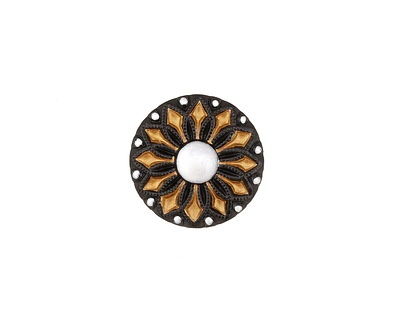 Czech Glass Jet w/ Gold & Pearled Daisy Button 18mm