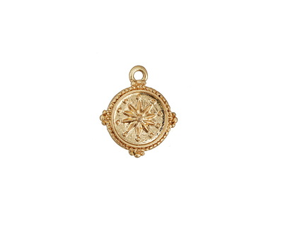 Zola Elements Matte Gold Finish Small Compass Rose Coin Charm 12x14mm