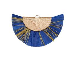 Royal Blue w/ Metallic Gold Fringed Raffia Focal 45x27mm