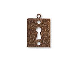 Vintaj Natural Brass Embossed Keyhole 14x20mm