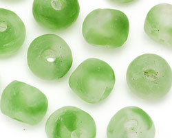African Recycled Glass Spring Green Tumbled Round 12-16mm