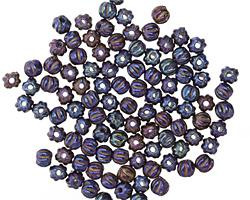 Czech Glass Iris Blue Melon Round 3mm