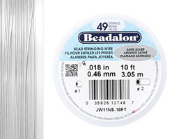 "Beadalon Satin Silver .018"" 49 Strand Wire 10ft."