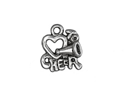 "Antique Silver (plated) ""Love to Cheer"" Charm 16x18mm"