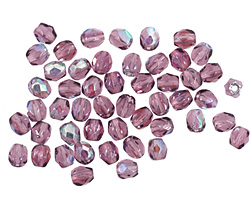 Czech Fire Polished Glass Amethyst AB Round 3mm
