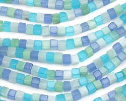 Blue Quartz (rainbow) Cube 4mm
