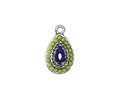 Zola Elements Antique Silver (plated) Beaded Poolside Domed Teardrop Charm 11x19mm