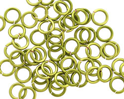 Peridot Enameled Copper Round Jump Ring 6.5mm, 18 gauge