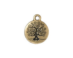 TierraCast Antique Gold (plated) Tree of Life Charm 15x19mm