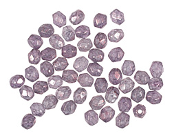 Czech Fire Polished Glass Luster Stone Amethyst Round 3mm