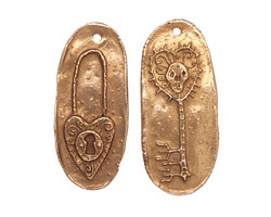 Green Girl Bronze Heart Lock & Skeleton Key 12-14x27-30mm