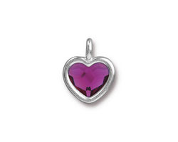 TierraCast Rhodium (plated) Heart Charm w/ Fuchsia Crystal 13x16mm