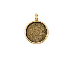 Nunn Design Antique Gold (plated) Large Circle Bezel Pendant 23x30mm