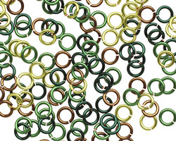 Camo Mix Enameled Copper Round Jump Ring 4.5mm, 20 gauge