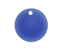 Royal Blue Recycled Glass Concave Coin 24mm