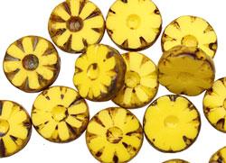 Czech Glass Citrus Picasso Flower Window Coin 12mm