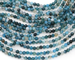 Sky Blue Line Agate Faceted Round 4mm
