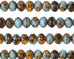 Czech Glass Sky Blue & Amber Picasso Fire Polished Rondelle 5x7mm