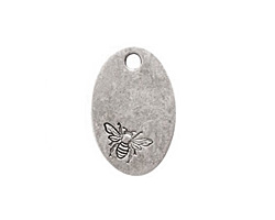 Nunn Design Antique Silver (plated) Large Oval Bee Tag 16x25mm