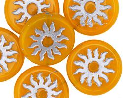 Czech Glass Citrus w/ Silver Sun Coin 22mm
