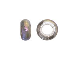 Smoke Large Hole Ceramic Rondelle 12-13mm
